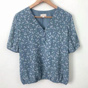 LOFT Dusty Blue Floral Blouse Top